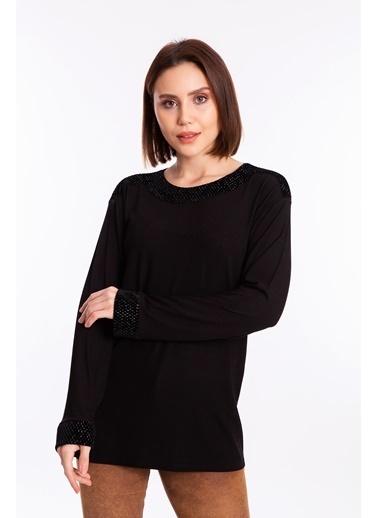 Butik Triko 3836 Kadife Detaylı Penye Bluz Siyah